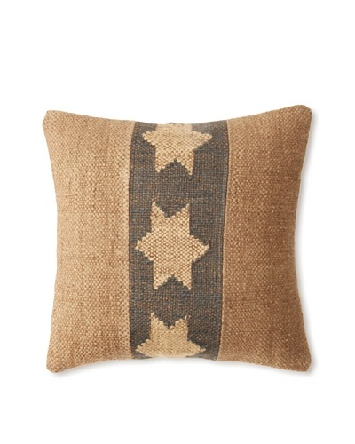 La Boheme Jute/Wool-Blend Flag Cushion, Natural/Slate, 16″ x 16″