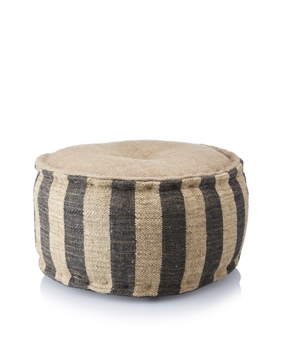La Boheme Hand-Woven Jute/Wool-Blend Stripe Pouf, Natural/Black