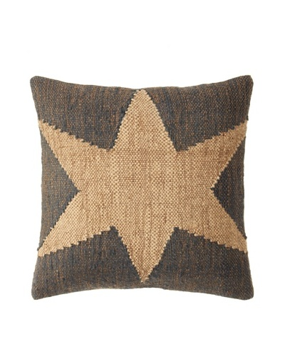 La Boheme Jute/Wool-Blend Flag Cushion, Natural/Slate, 18 x 18