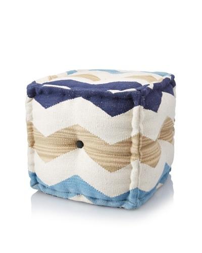 La Boheme Hand-Woven Cotton Chevron Cube Pouf, Light Multi