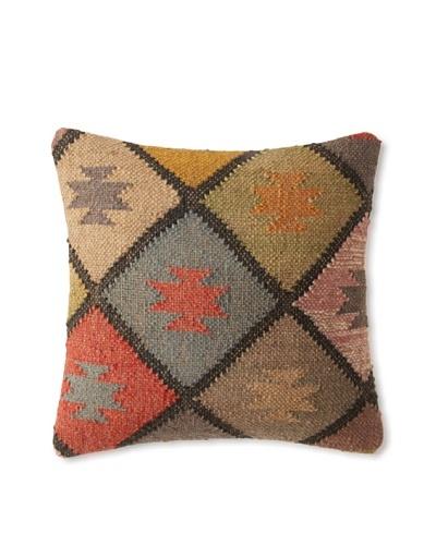 La Boheme Jute/Wool-Blend Diamonds Cushion, Multi, 16″ x 16″