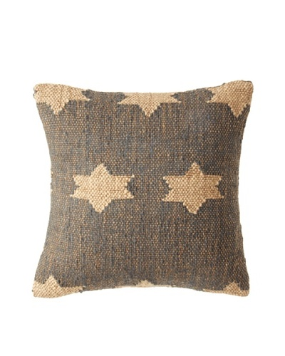 La Boheme Jute/Wool-Blend Flag Cushion, Natural/Slate, 15 x 15