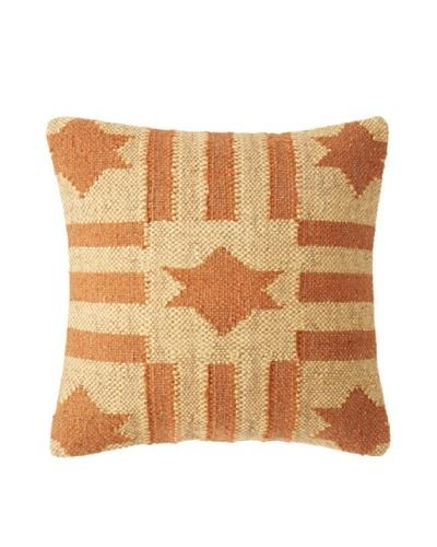 La Boheme Jute/Wool-Blend Flag Cushion, Yellow/Rust, 16 x 16