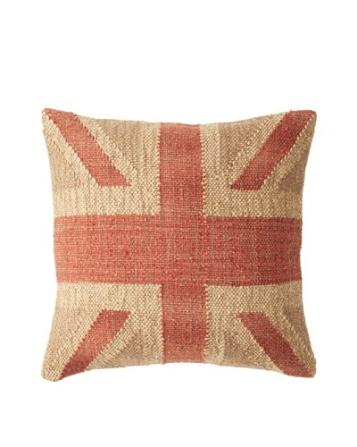 "La Boheme Jute/Wool-Blend Flag Cushion, Natural/Red, 17"" x 17"""