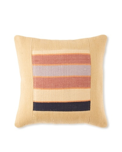 La Boheme Cotton Stripe Cushion, Yellow/Multi, 16″ x 16″