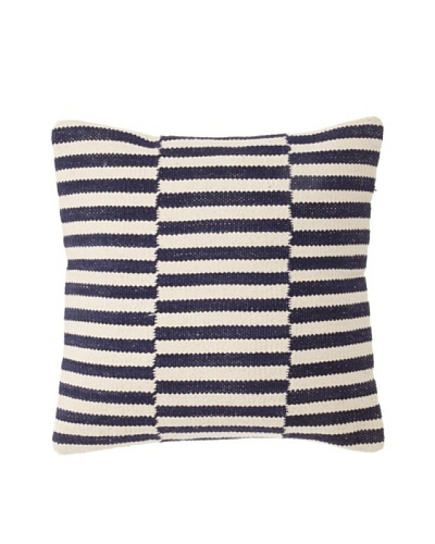 "La Boheme Cotton Checker Stripe Cushion, Off-White/Navy, 16"" x 16"""