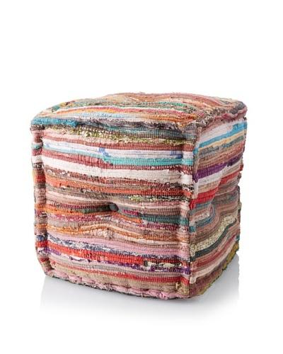 La Boheme Hand-Woven Cotton Cube Pouf, Multi