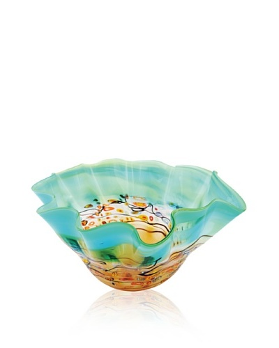 Viz Art Glass Dotted Sea Ruffle Bowl