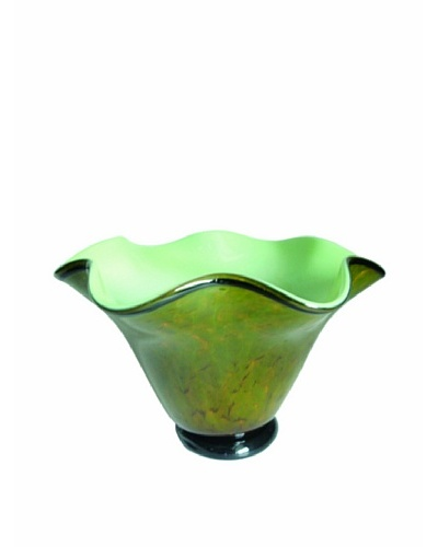 La Meridian Hand Blown Glass Bowl with Ruffled Rim