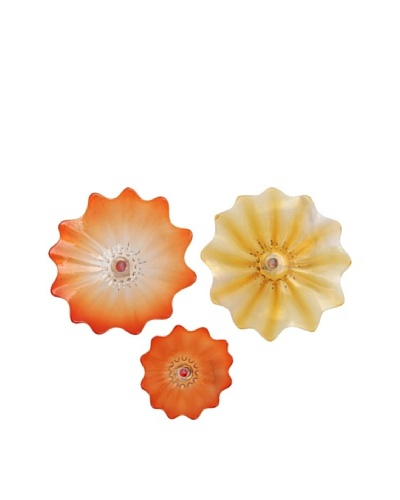 La Meridian 3-Piece Mouth-Blown Glass Wall Plate Installation, Red/Amber