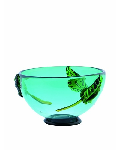La Meridian Hand Blown Glass Bowl with Fused Glass Leaves
