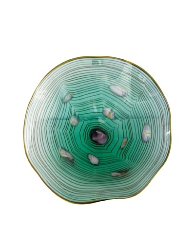La Meridian Mouth-Blown Glass Wall Plate, Green/White/Purple, Medium