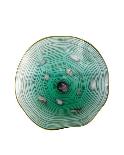 La Meridian Mouth-Blown Glass Wall Plate, Green/White/Purple, Medium
