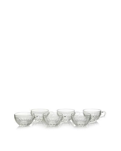 La Rochère Set of 6 Louison Coffee Cups, Clear, 12 Oz.