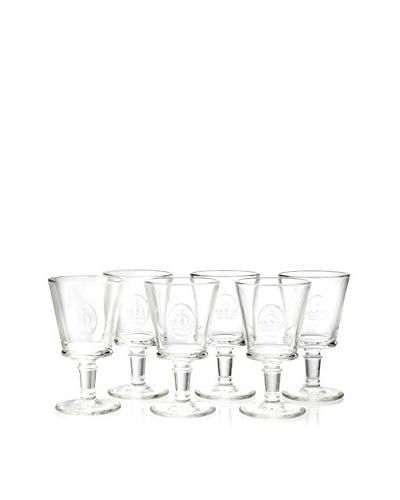 La Rochère Set of 6 French Crown Décor 8.5-Oz. Wine Glasses