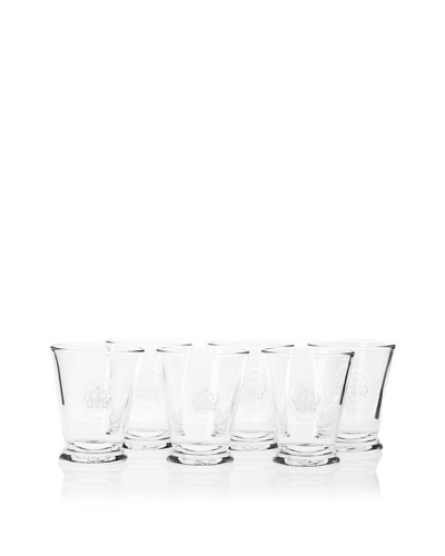 La Rochère Set of 6 French Crown Décor 9-Oz. Double Old-Fashioned Glasses