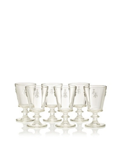 La Rochère Set of 6 Bee Décor Clear Wine Goblets