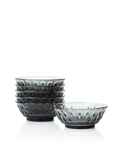 La Rochère Set of 6 Lyonnais Decor Charcoal Dessert Bowls, 12-oz.