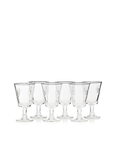 La Rochère Set of 6 Fleur De Lys Décor 8-Oz. Wine Glasses