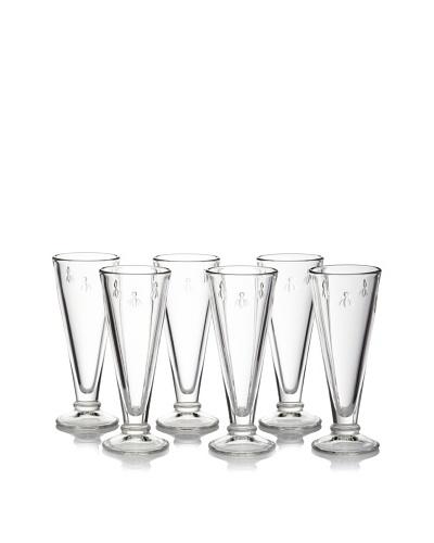 La Rochère Set of 6 Bee Décor 5.5 Ounce Clear Champagne Flutes