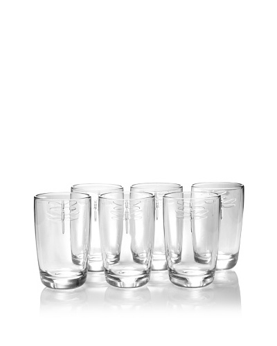 La Rochère Set of 6 Dragonfly Décor Tumblers, Clear, 14-Oz.