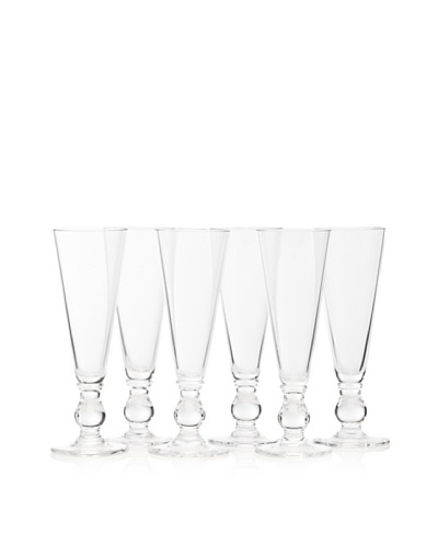 La Rochère Set Of 6 French Mouth Blown Champagne Flute, 5-oz