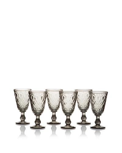 La Rochère Set of 6 Lyonnais Footed Wine Glasses, Charcoal