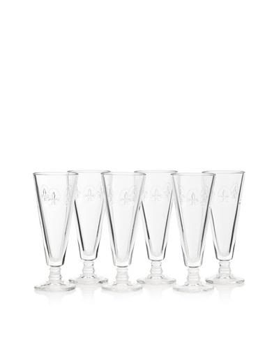 La Rochère Set of 6 Fleur De Lys Décor 5.25-Oz. Champagne Flutes