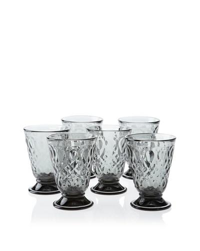 La Rochère Set of 6 Lyonnais Décor 7-Oz. Juice Goblets, Charcoal