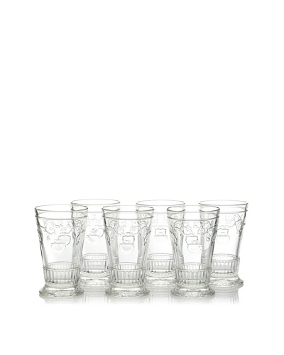La Rochère Set of 6 Versailles Decor Tall Drink Glasses, 11-oz.