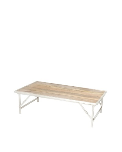Jamie Young Custom Campaign Folding Coffee Table, Natural/Nickel