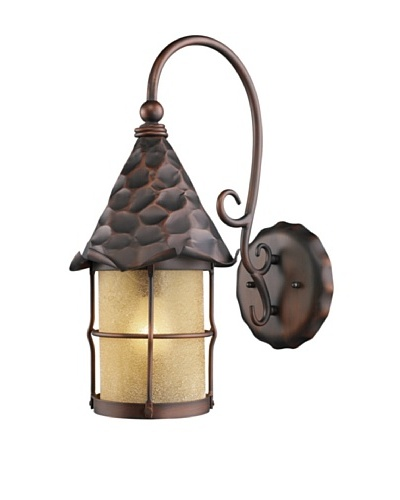 Landmark 385-AC Rustica 1-Light Outdoor Sconce, 19-Inch, Antique Copper with Scavo Glass
