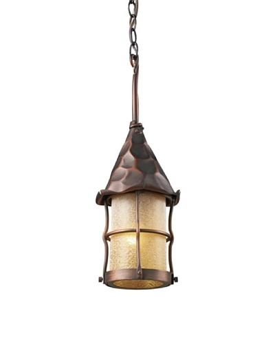 Landmark 388-AC Rustica 1-Light Outdoor Pendant, 18-Inch, Antique Copper with Scavo Glass
