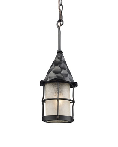 Landmark Rustica 1-Light Outdoor Pendant, Matte Black