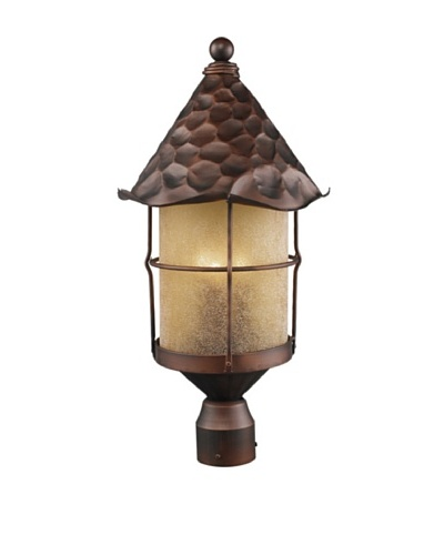 Landmark 389-AC Rustica 3-Light Outdoor Post Light 26-Inch, Antique Copper with Scavo Glass