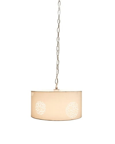 Laura Ashley Daisy Field Pendant Lamp, White/Brushed Nickel