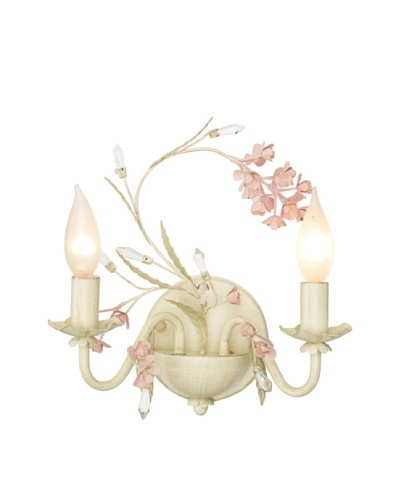Laura Ashley Blossom 2-Light Wall Sconce, Antique Ivory