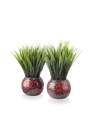 Laura Ashley Set of 2 Grass Mosaic Containers [Red and Brown]