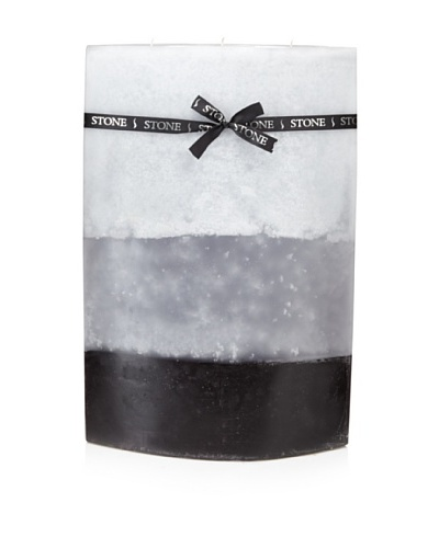 Stone Candles Triple Layer Eliptical Candle with Ribbon