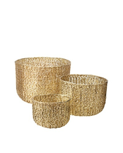Lazy Susan Set of 3 Brass Twisted Wire Tubs