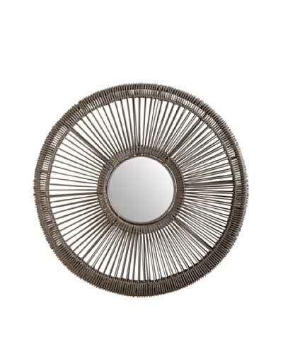 Lazy Susan Gray Wicker Spoke Mirror