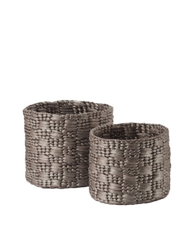 Lazy Susan Set of 2 Metallic Water Hyacinth Baskets