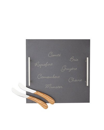 LeBrun 3-Piece French Cheese Set on Slate Tray