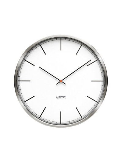 Leff Amsterdam Stainless Steel Index Clock, White