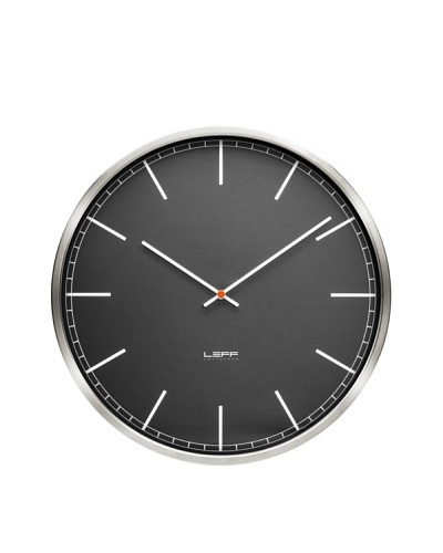 Leff Amsterdam Stainless Steel Index Clock, Black