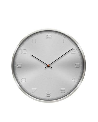 Leff Amsterdam Stainless Steel Embossed Aluminum Arabic Clock, White