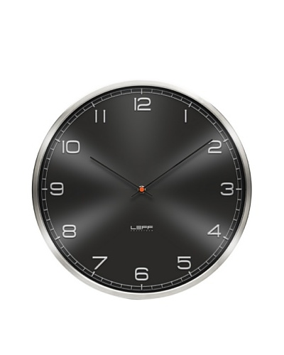 Leff Amsterdam Stainless Steel Embossed Aluminum Arabic Clock, Black
