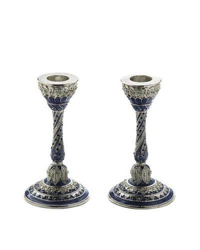 Legacy Judaica Set of 2 Capri Enamel Candlesticks