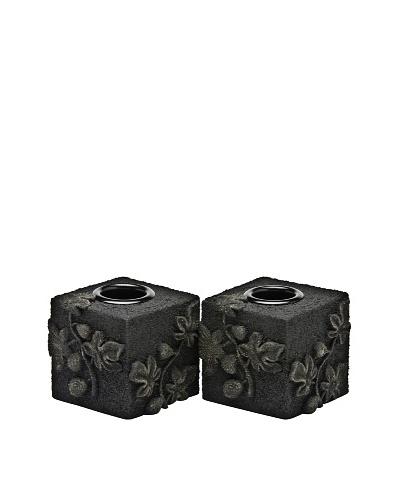 Legacy Judaica Set of 2 Black Lava Pomegranates Candle Holders