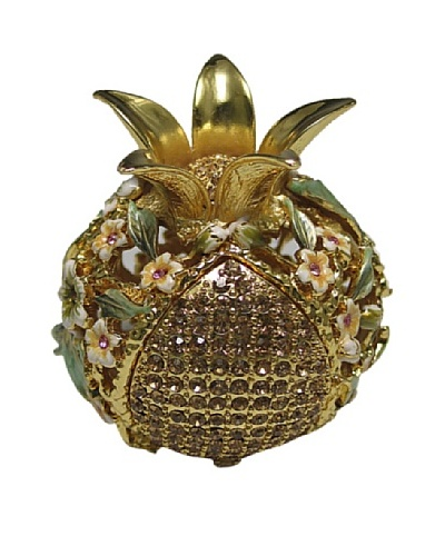 Legacy Judaica Jeweled Pomegranate Spicebox, Cream Flower/Gold and Sage Leaves